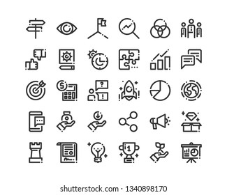 Business And Finance Icon Set. Bold Line Icons