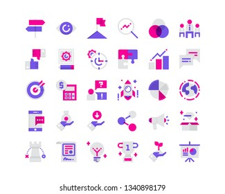 Business And Finance Icon Set. Flat Icons.