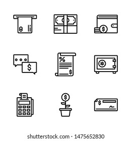 Business & Finance Icon Set Including ATM, Bundle of Money, Wallet, Business Discussion, Tax, Safety Box, EDC Machine, Investment and Cheque