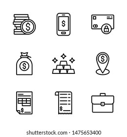 Business & Finance Icon Set Including Coins, Mobile Banking, Payment Security, Money Bag, Gold, Business Location, Invoice, Bill and Briefcase