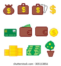 Business and finance icon set. Pixel art. Old school computer graphic style.
