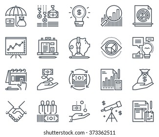 Business and finance icon set suitable for info graphics, websites and print media. Black and white flat line icons.