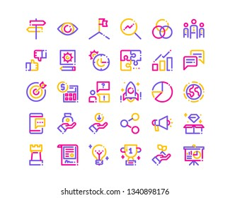 Business And Finance Icon Set. Tri-Color Line Icons.