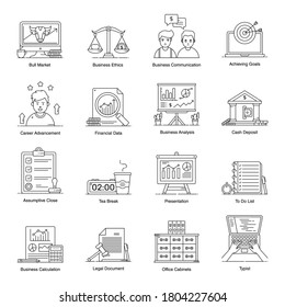 Business and Finance Icons in Modern Line Style Pack