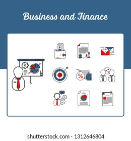 Business and Finance Icons Set - Achievement Statistics and presentation icon set with Outline Filled Style