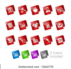 Business & Finance Icons// Stickers Series -------It includes 5 color versions for each icon in different layers ---------