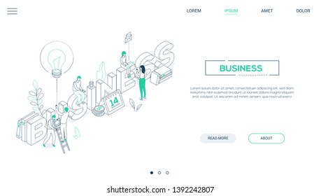 Business and finance - line design style isometric web banner on white background with copy space for text. A header with a team working with laptops, drinking coffee, calendar, coins, lightbulb, book
