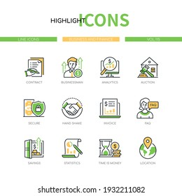 Business and finance - line design style icons set. Partnership and management idea. Contract, businessman, analytics, auction, secure, handshake, invoice, savings, statistics, time is money, location