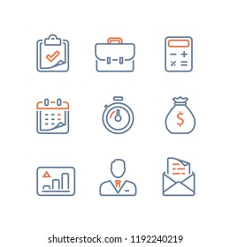 Business and finance line icon, long term invest return, revenue growth, stock market portfolio performance report, budget and account service, project management, annual payment rate installment