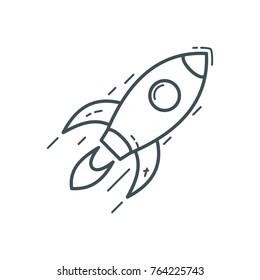 Business Finance Line Icon Rocket Entrepreneur