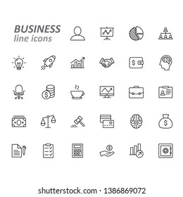 Business and finance line icons set, vector illustration on white background
