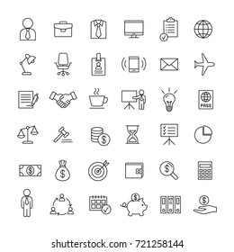 business finance line icons set on white background
