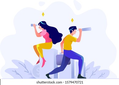 Business and finance man and women vision seeing the future direction of business with telescope people character flat design style Vector Illustration