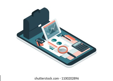 Business and finance management app for enterprises, business equipment and icons on a smartphone
