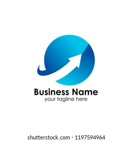business finance and marketing logo design template with arrow up illustration