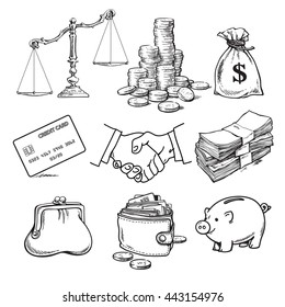 Business finance money set. Scales, stack of coins, sack of dollars, credit card, handshake, paper money, purse. wallet, piggy bank Sketch Hand drawn vector illustration isolated on white background.