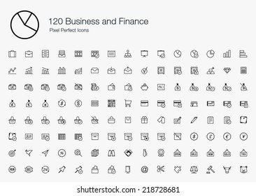 Business and Finance Pixel Perfect Icons (line style)