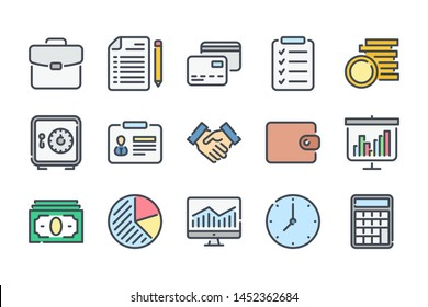 Business and finance related color line icon set. Marketing colorful linear icons. Money and Banking flat color outline vector sign collection.