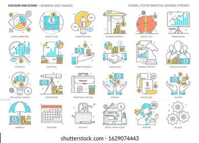 Business and finance related, color line, vector icon, illustration set. The set is about statistics, growth, economics, marketing, banking.