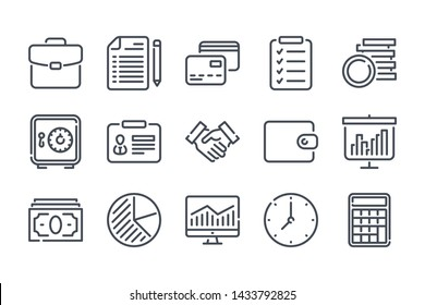 Business and finance related line icon set. Marketing linear icons. Money and Banking vector signs and symbols collection.