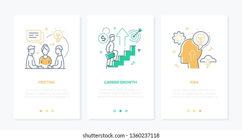 Business and finance - set of line design style vertical web banners with copy space for text. A team, businessman climbing up the stairs, head with lightbulb. Meeting, career growth, idea concepts