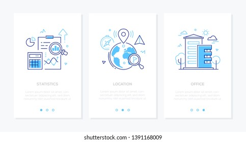 Business and finance - set of line design style vertical web banners with copy space for text. Images of a clipboard, diagrams, globe with map pointers, building. Statistics, location, office concepts