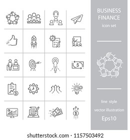 Business and finance, set of linear icons  isolated on white background - editable vector illustration eps10