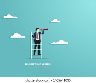 Business finance, Successful vision concept with character of businessman and telescope, A businessman standing on the stair, Looking of sucess, Leadership, Business Startup, Vector illustration flat