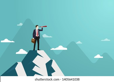 Business finance, Successful vision concept with character of businessman and telescope, A man standing on top of mountain, Looking of sucess, Leadership, Business Startup, Vector illustration flat