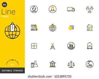 Business, finance, and transportation line icons collection, editable strokes. For mobile concepts and web apps. Vector illustration, clean flat design
