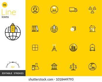 Business, finance, and transportation yellow line icon collection, editable strokes. For mobile concepts and web apps. Vector illustration, clean flat design