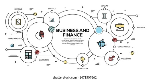 BUSINESS AND FINANCE  VECTOR CONCEPT AND INFOGRAPHIC DESIGN