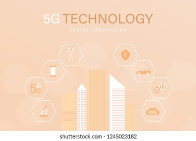 Business and finance. Vector icons for 5G network, data analysis or cloud technology.