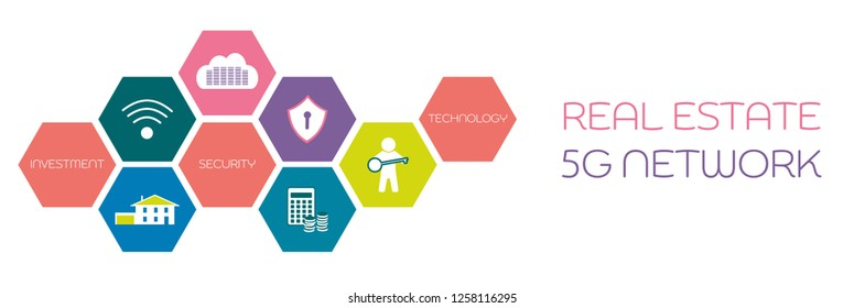 Business and finance. Vector illustration for 5G network, real estate or cloud technology.