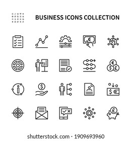 Business and finance vector linear icons. Business management. Marketing information plan goal team money and more. Collection of business icons for websites and mobile devices. Editable stroke.