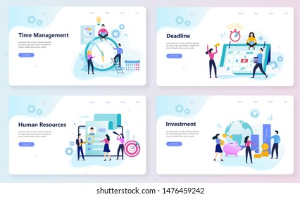 Business and finance web banner concept set. Time management, deadline and human resources. Busy character in formal clothes. Isolated vector illustration in cartoon style