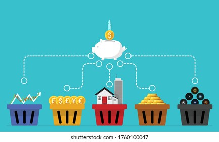 Business financial concept of diversification. Do not put all savings money in one basket. Allocating in 5 baskets. Vector of stock market, forex, real estate, gold and cryptocurrency investment