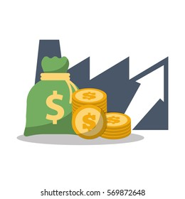 business financial growth bag money coins vector illustration eps 10