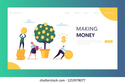 Business Financial Growth Capital Website Template. Woman Watering Money Tree. Character Team Collecting Golden Coins. Money Profit, Income Concept for Landing Page. Flat Cartoon Vector Illustration