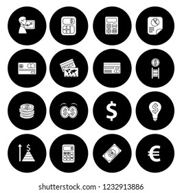 business Financial icons set - currency graph and money banking illustrations