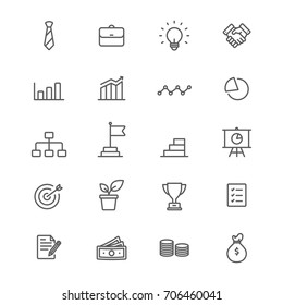 Business and financial line icons set, Vector on white background