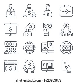 Business and financial management related line icon set. Investment and iconme outline icons. Banking and trading vector icon collection.
