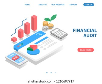 business financial system, isometric concept. there are bar graph, money coin, mobile payment, web page and pie graph. vector illustration