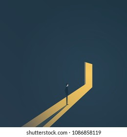 Business finding solution vector concept with businessman standing in dark, light coming out of the door. Symbol of hope, light at the end of the tunnel. Eps10 vector illustration.