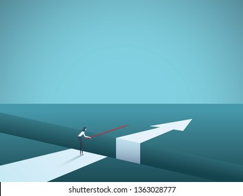 Business finding solution vector concept with woman building bridge. Symbol of creativity, technology, overcoming obstacles, challenges, intelligence and ambition. Eps10 vector illustration.
