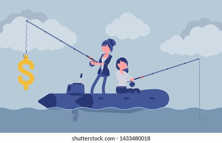 Business fishing for money. Two businesswomen trying to catch dollar symbol, more or less successful manager, achievements and chance, luck, fortune in market. Vector illustration, faceless characters