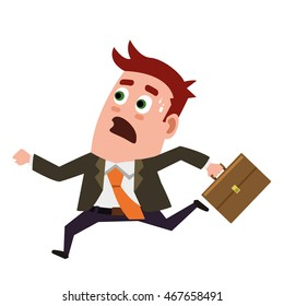 Business flat  character is running with panic.