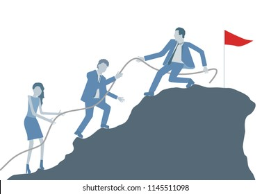 Business flat design vector with a leader helping colleagues to climb on top of a mountain.