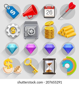 Business flat icons color set. Vector illustration