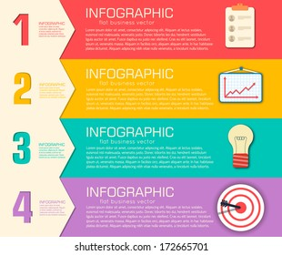 Business flat infographic template with text fields. Vector Illustration